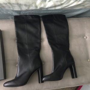🆕 Vince Camuto Sz 10 Black Leather Boots RoundToe
